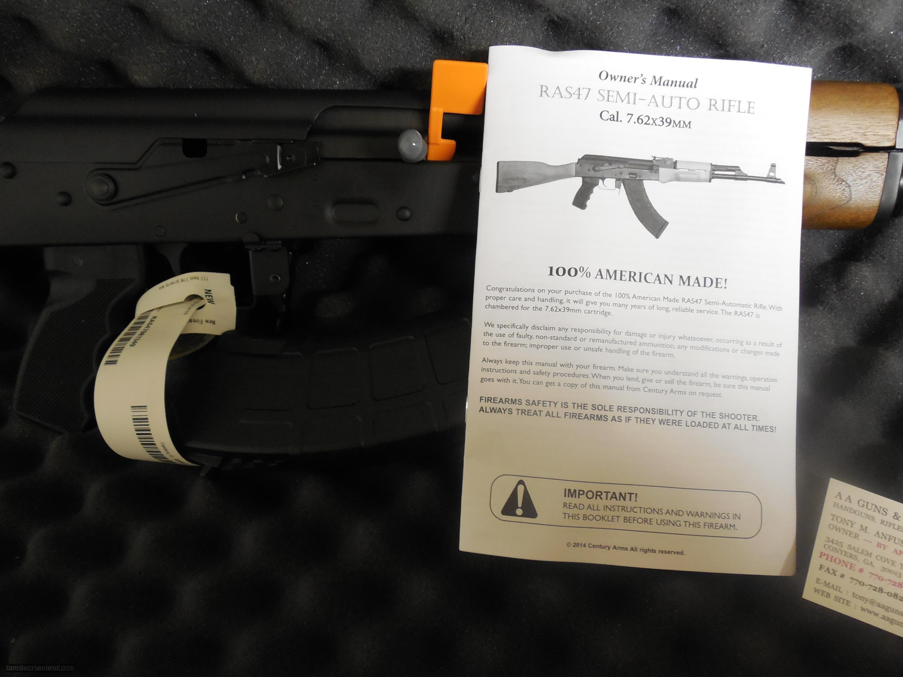 Ak ak 47 for sale by owner -  Ak 47 Century Arms Ras47s 7 62 X 39 2 30 Round Mag