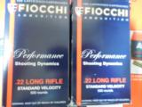 FIOCCHI22 - L. R.,STANDARDVELOCITY,40GRAINLEADROUNDNOSE,1.070F.P.S. 500ROUNDBOXES