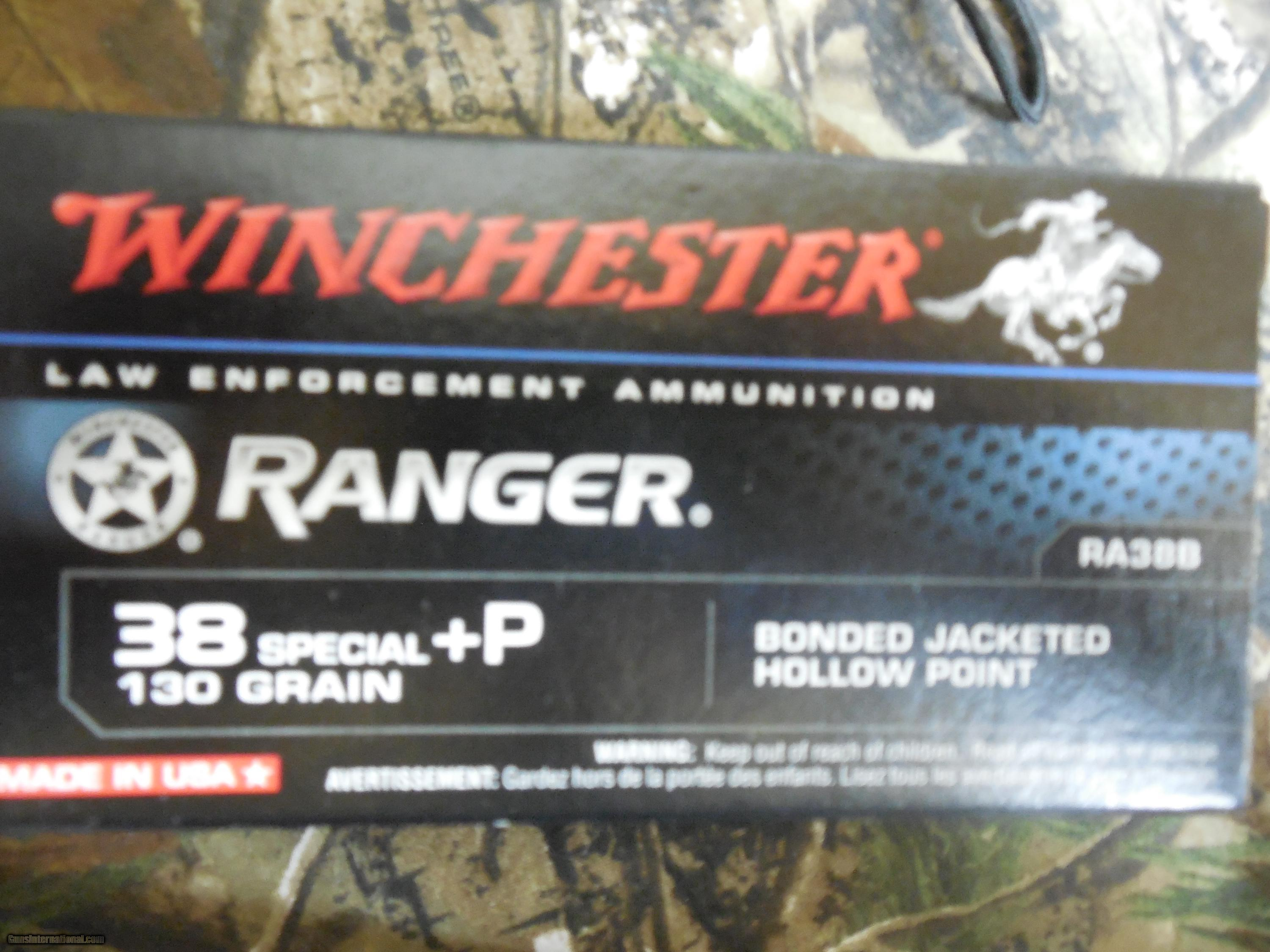 38 SPECIAL + P, WINCHECTER RANGER, 130 GR. BONDED JACKETED HOLLOW POINT, 50 ROUND BOXES.