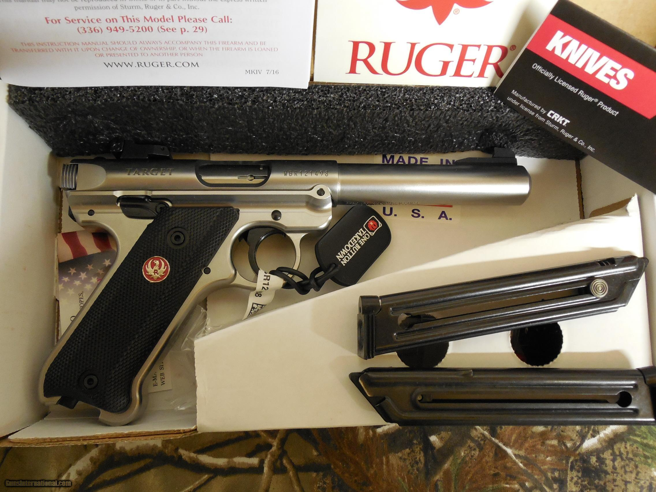 ruger mark iv target 40103 s s 5 5 bull barrel 22 l r rh gunsinternational com Ruger Mark 2 Target Pistol Accessories Ruger Mark 2 Accessories