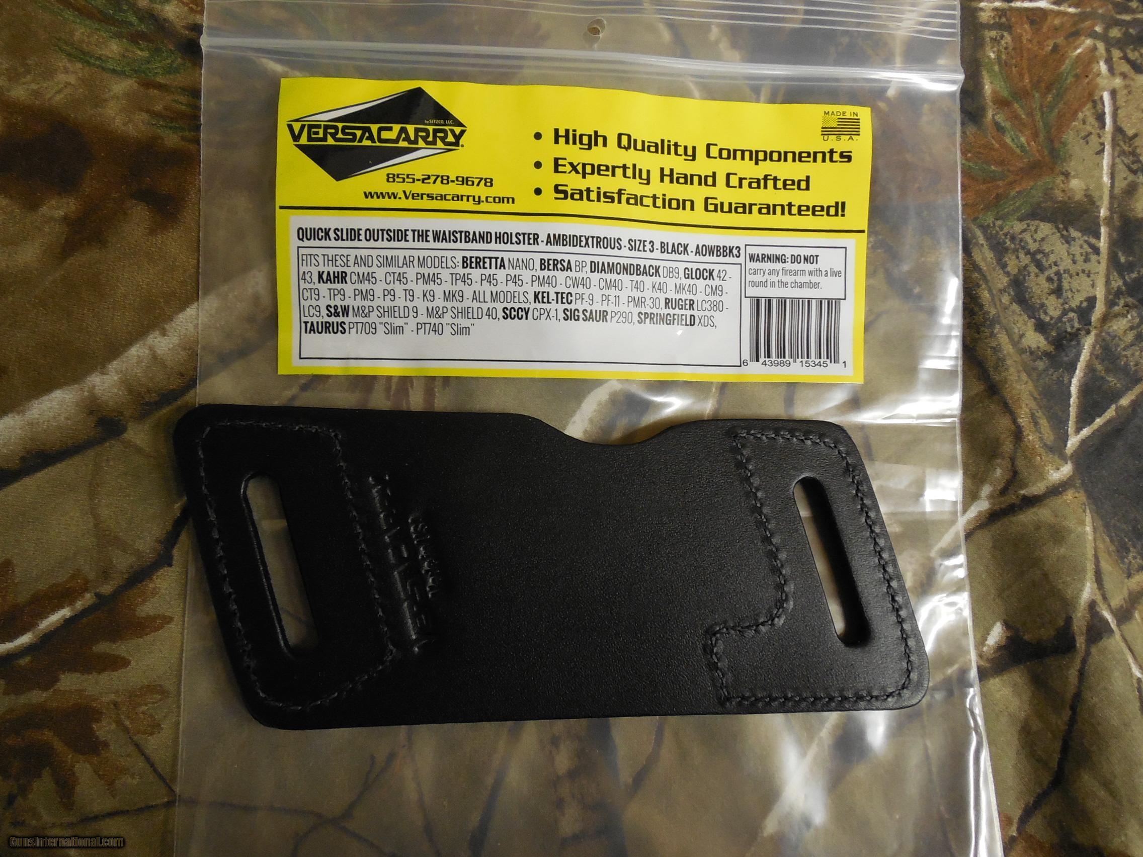 HOLSTER, VERSACARRY QUICK SLIDE S1 OWB AMBIDEXTROUS SIZE 3