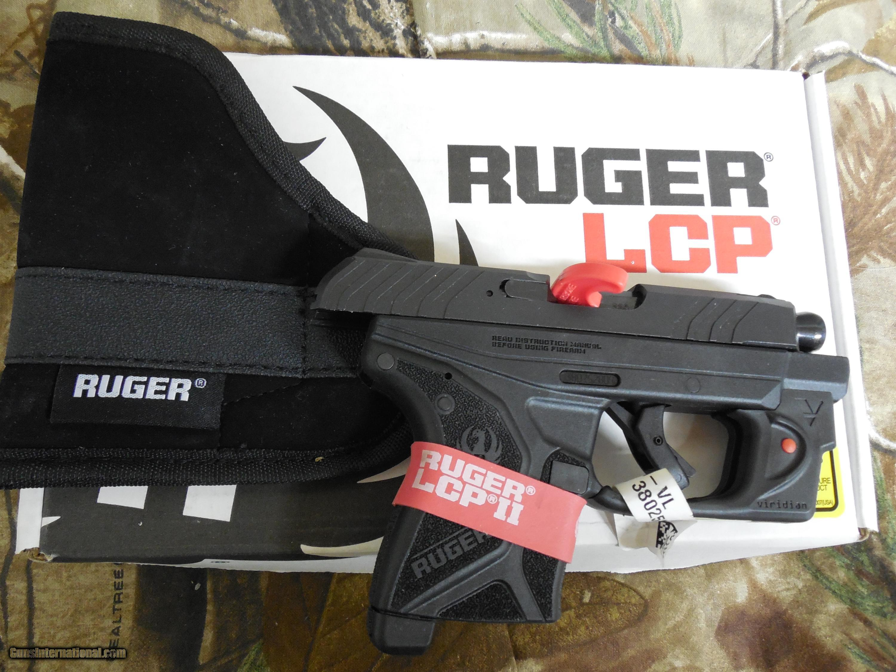 RUGER LCP-II WITH VIRIDIAN LASER, 380 ACP, 6 ROUND MAGAZINE