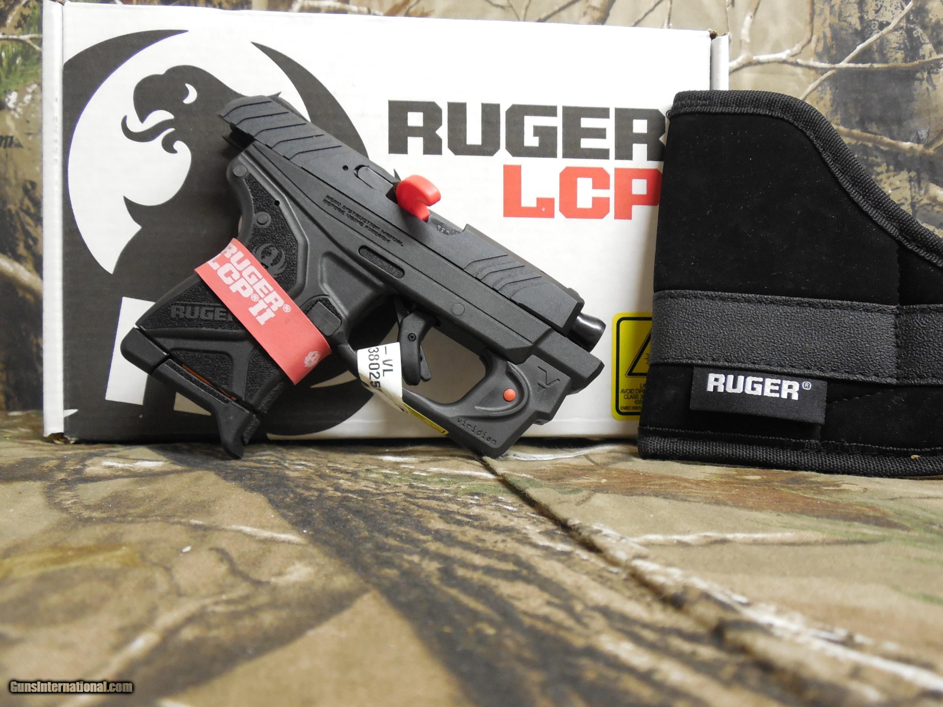 RUGER LCP-II WITH VIRIDIAN LASER, 380 ACP, 6 ROUND MAGAZINE, COMES