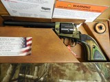 """HERITAGECOMBO,22-L.R, / 22 MAGNUM,( TWO CYLINDERS),6.5""""BARREL,6 - SHOT,BLUED/C. COLORED LAMINATE GRIP,FACTORYNEWINB - 2 of 21"""