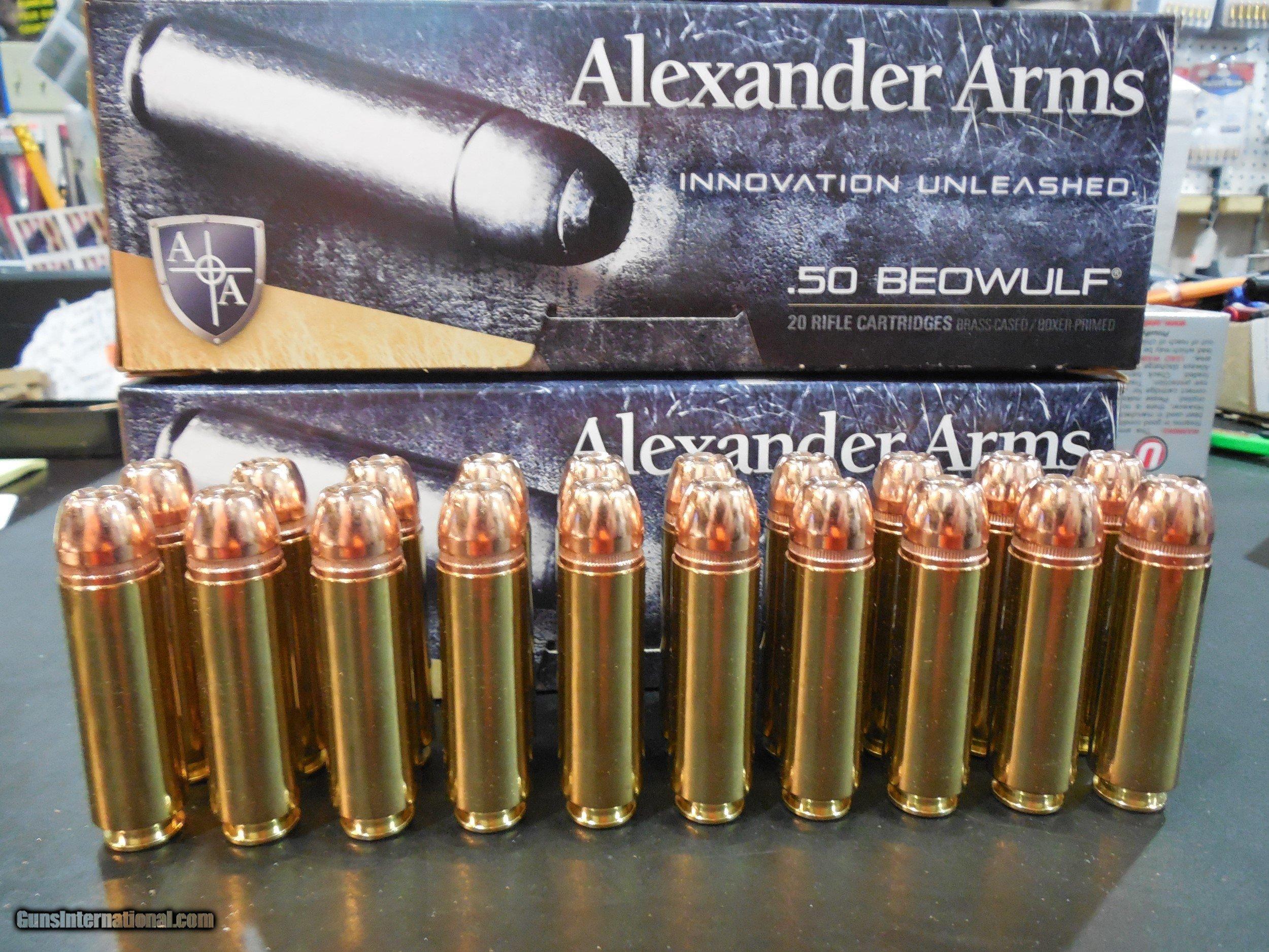 50 BEOWULF, ALEXANDER AMMO, 350 GRAIN XTP-JHP, 20 ROUND