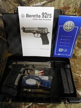 """Beretta USA, 92FS, Compact, 9-MM Luger,Single/Double,4.3"""" BARREL, 2-10+1Magazines, BlackSynthetic Grip, Stainless Steel Slide, N I B."""