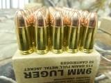 9-MM,RemingtonAmmunition, B9MM3, 9-MMLuger115 GR., 1145 FPS, FullMetalJacket50 ROUNDBOXES,Military / LawEnforcementDivision. - 8 of 14