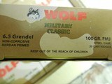 6.5GRENDEL,WOLF100GRAIN,F. M. J.,20ROUNDBOXESOR500ROUNDCASE FACTORYNEWINBOX - 5 of 15