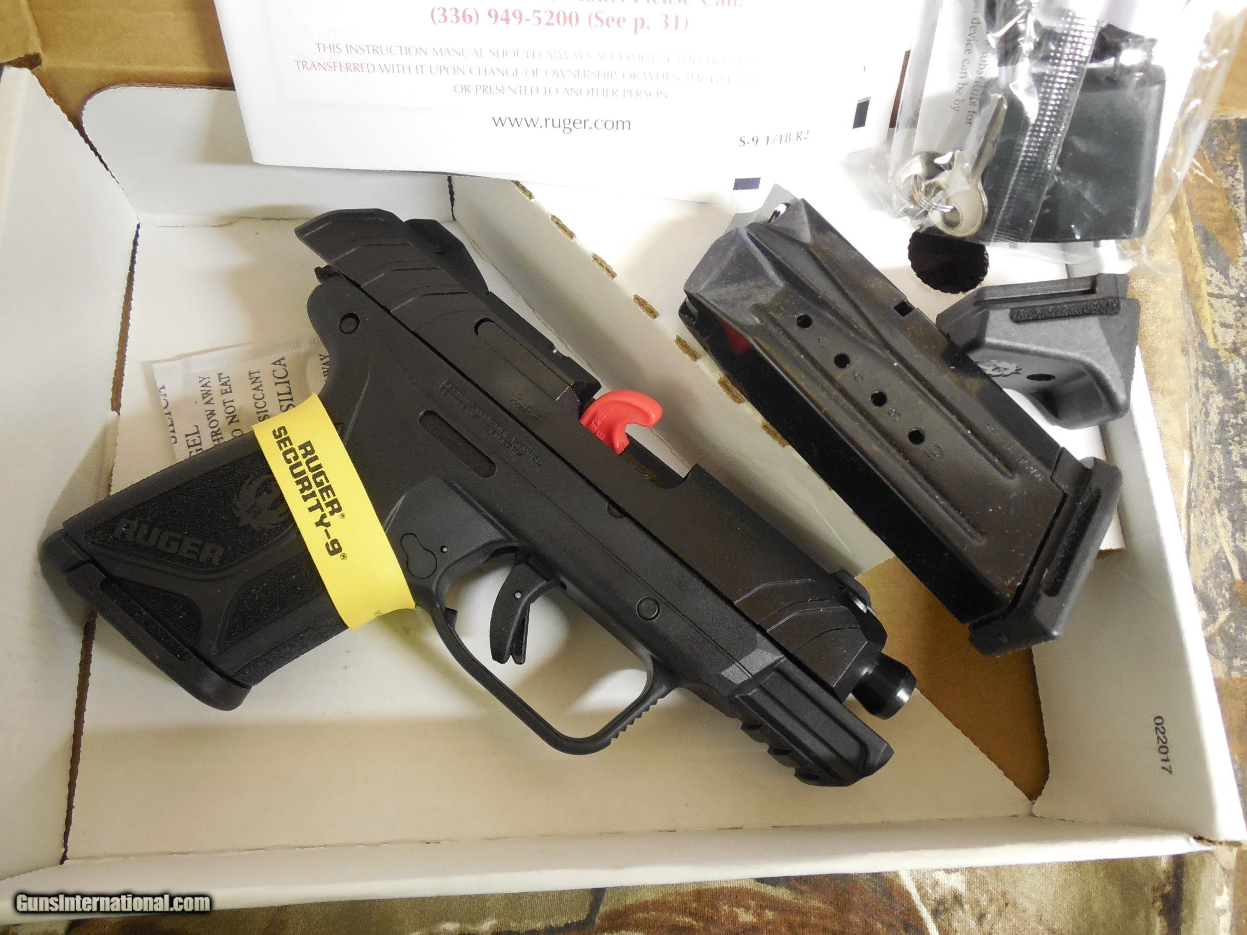 RUGER # 03818, SECURITY- 9, COMPACT, 2 - 10 ROUND MAGAZINES