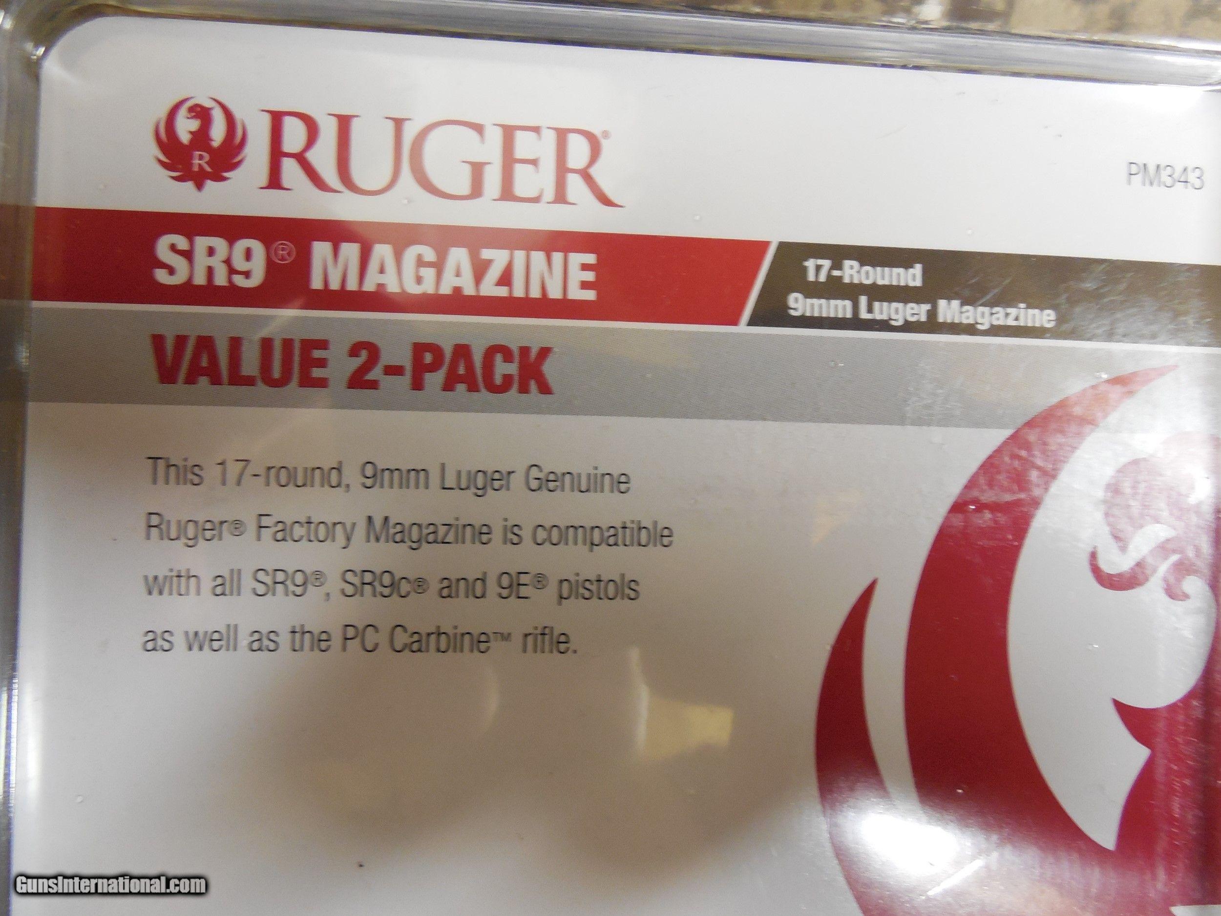 RUGER MAGAZINE 2-PACK, SR9 / SR9C & 9E, 9-MM LUGER 2-17