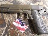 "AUTOORDNANCE,1911 The General 45 ACP Single 5"" 7+1 Black Army Eagle Engraved Grip Patriot Brown Cerakote Steel Slide FACTORY NEW IN BOX - 7 of 26"