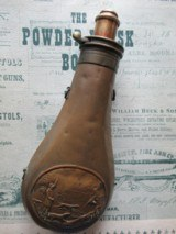 JAMES DIXON & SON MEDALLION POWDER FLASK. 1835. VERY SOUND.