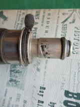G & JW HAWKSLEY LEATHER COVERED POWDER FLASK. ENGLISH MADE. - 3 of 7