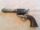 Colt Single Action Army Revolver 45 x 4-3/4 Factory Nickel and Walnut Grips 1884 with Ownership By Texas Cattleman, Deputy and Sheriff Elect