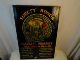 Circa 1920 Reverse Painted Glass Advertising Surety Bonds Features full Multi Color Indian Logo - 1 of 2