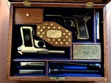 Cased set of Savage M1907 .380ACP pistols (blue & nickel) with factory letters and so much more! - 1 of 14