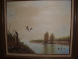Ginny Malcotte Painting 2 ducks on a lake