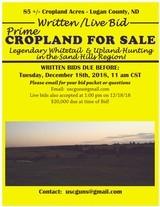 85 +/- Prime Cropland FOR SALE in Logan County, North Dakota