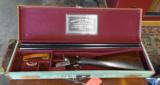 William Evans 12 ga. boxlock in top original condition, super light, and cased with keys!