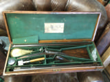 J. Pratt on Hannover Street Edinburgh Scotland ~ Cased Muzzle Loader Two Barrel Set ! Double Rifle and Shotgun