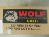 1000 ROUNDS WOLF WPA GOLD BRASS CASE .223 REM 223