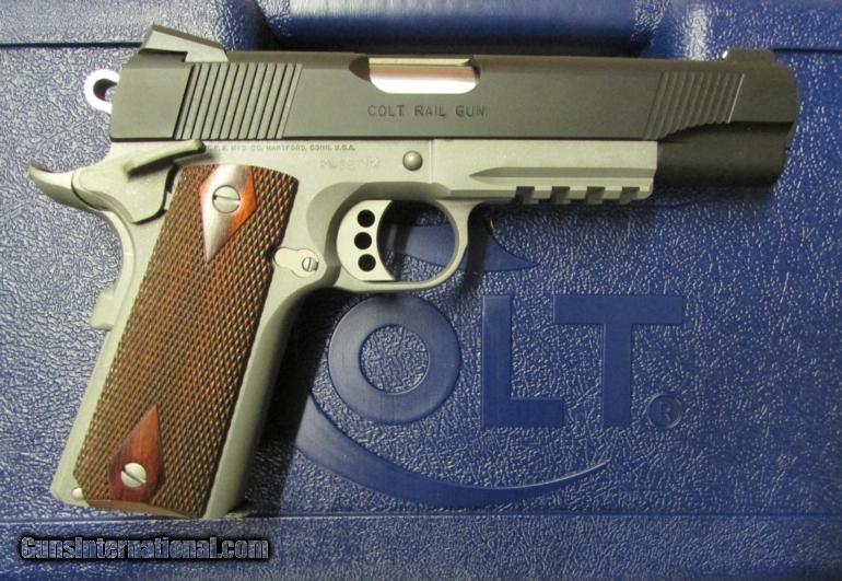 Colt 1911 Rail Gun Two-Tone w/ Rosewood Grips  45 ACP 01080RG
