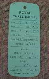 Royal Three Barrel Gun Company Hang Tag - 1 of 3