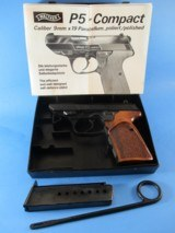 """Very rare, early Walther P5 """"COMPACT"""" 9mmP pistol in almost new condition with NILL stippled grips & thumb rest in original box"""