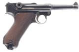MAUSER P.08 LUGER 9MM SEMI-AUTO PISTOL WITH 4 IN. BBL., 2 MAGAZINES & PERIOD HOLSTER