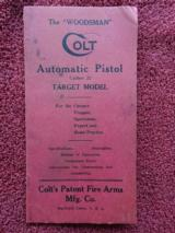 ORIGINAL COLT WOODSMAN PRE-WAR INSTRUCTIONS