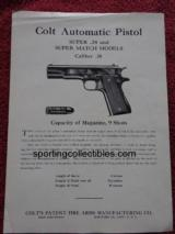 ORIGINAL COLT SUPER 38 INSTRUCTIONS