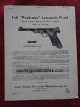 ORIGINAL COLT WOODSMAN INSTRUCTIONS DATED 1941