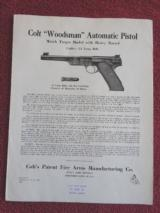 COLT WOODSMAN MATCH TARGET ORIGINAL INSTRUCTION FOLDER