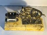 Brass Figure of a Wild Boar with Manual Calendar
