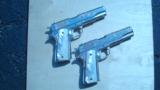 COLT 1911 GOVERNMENT .45 CONSECUTIVE PAIR FACTORY ENGRAVED NICKEL W/ MOTHER OF PEARL GRIPS - 1 of 13