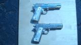 COLT 1911 GOVERNMENT .45 CONSECUTIVE PAIR FACTORY ENGRAVED NICKEL W/ MOTHER OF PEARL GRIPS - 2 of 13