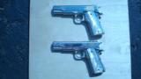 COLT 1911 GOVERNMENT .45 CONSECUTIVE PAIR FACTORY ENGRAVED NICKEL W/ MOTHER OF PEARL GRIPS - 3 of 13