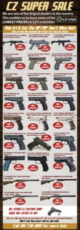 CZ USA MEMORIAL DAY WEEK SUPER SALE! ALL PISTOLS AND SHOTGUNS LOWEST PRICES OF THE YEAR!