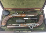 FINE CASED LARGE BORE OFFICERS OR DUELING PERCUSSION PISTOLS BY LEPAGE PARIS