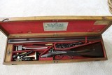 James Purdey 28 BORE (.577 Snider early case) underlever hammer double rifle cased with all accessories made 1867