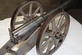 "Antique replica ""breech loading"" cannon in 12 bore. 33 1/2"" OAL. Barrel is 20 1/2""."