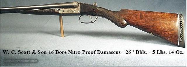 SCOTT, W&C-16 BORE NITRO PROVED DAMASCUS BOXLOCK