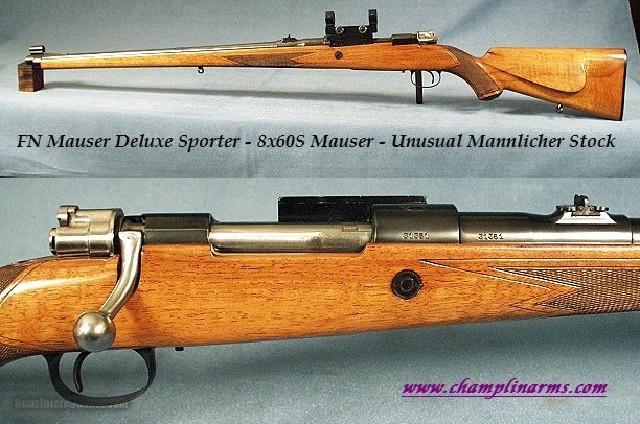 FN MAUSER 8x60S - BELGIUM DLX SPORTER - ENGR - MANNLICHER- 1 of 3