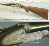 CLARKE & SONS 12 SIDELOCK EJECT- 1969 NEW ENGLISH BARRELS THAT REMAIN as NEW- 27