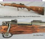 SCOTT CRIDDLE 300 WIN.- SUPER WOOD- GREAT FLEUR-DE-LIS CHECKERING- FN ACTION- VERY NICE DETAIL - 1 of 5