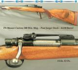 FN MAUSER CUSTOM 300 WIN. MAG.- CERTAIN it was STOCKED by PAUL JAEGER- 26