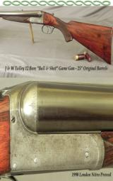 """TOLLEY 12 """"BALL & SHOT""""- LONDON NITRO PROOF in 1990- TOPLEVER HAMMERLESS- 25"""" ORIGINAL Bbls.- Walls at .047 & .049"""" - 1 of 4"""