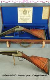 """HOLLAND & HOLLAND 12 ROYAL- EXC VALUE- 28"""" CHOPPER LUMP Bbls.- EXC GUN INSIDE & OUT- CASED - 1 of 4"""