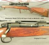 WINCHESTER MOD 70 PRE-64 SUPER GRADE 300 H&H- 1950- 95% OVERALL BLUE- WOOD FINISH at 88%- LEUPOLD 3.5 x 10 - 1 of 3
