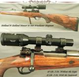 HOLLAND & HOLLAND 458 W. M.- MAUSER ACTION- ORIG H&H QD MOUNTS- SWAROVSKI 1.5x4.5- VERY ACCURATE- EXC.- 1 of 5